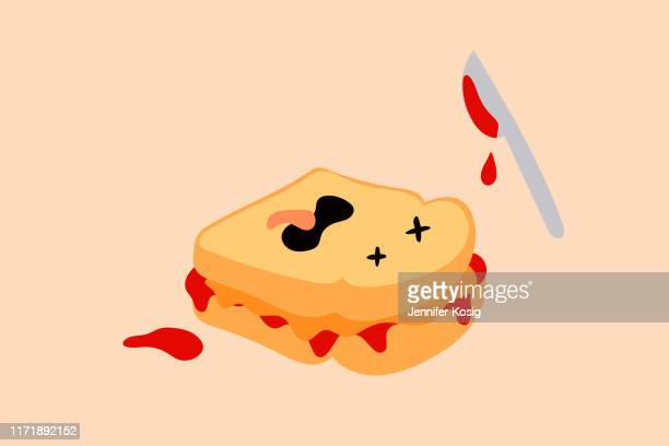funny peanut butter and jelly sandwich illustration - toasted sandwich stock illustrations, clip art, cartoons, & icons