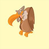 funny perched vulture or condor bird, cartoon character