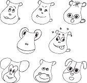 Funny pet faces set. Liner vector illustration on white