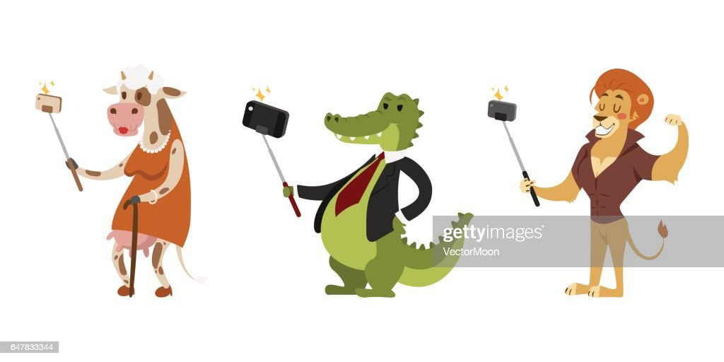 Funny picture photographer mamal person take selfie stick in his hand and cute animal taking a selfie together with smartphone camera vector illustration