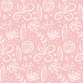 Funny pink doodle pattern with big floral elements