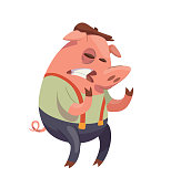 Funny pink male pig-bully