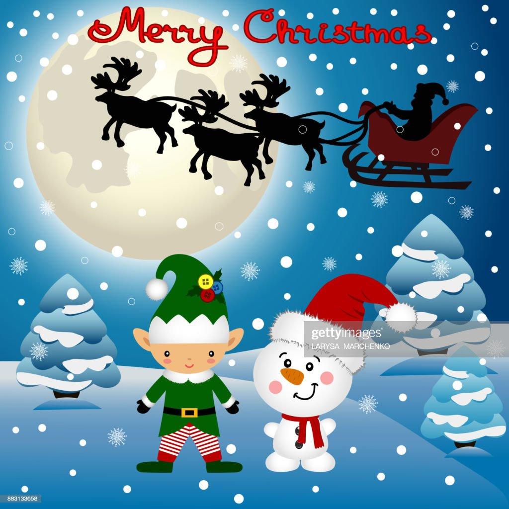 Funny postcard with Christmas Elf, Christmas reindeer and Santa.