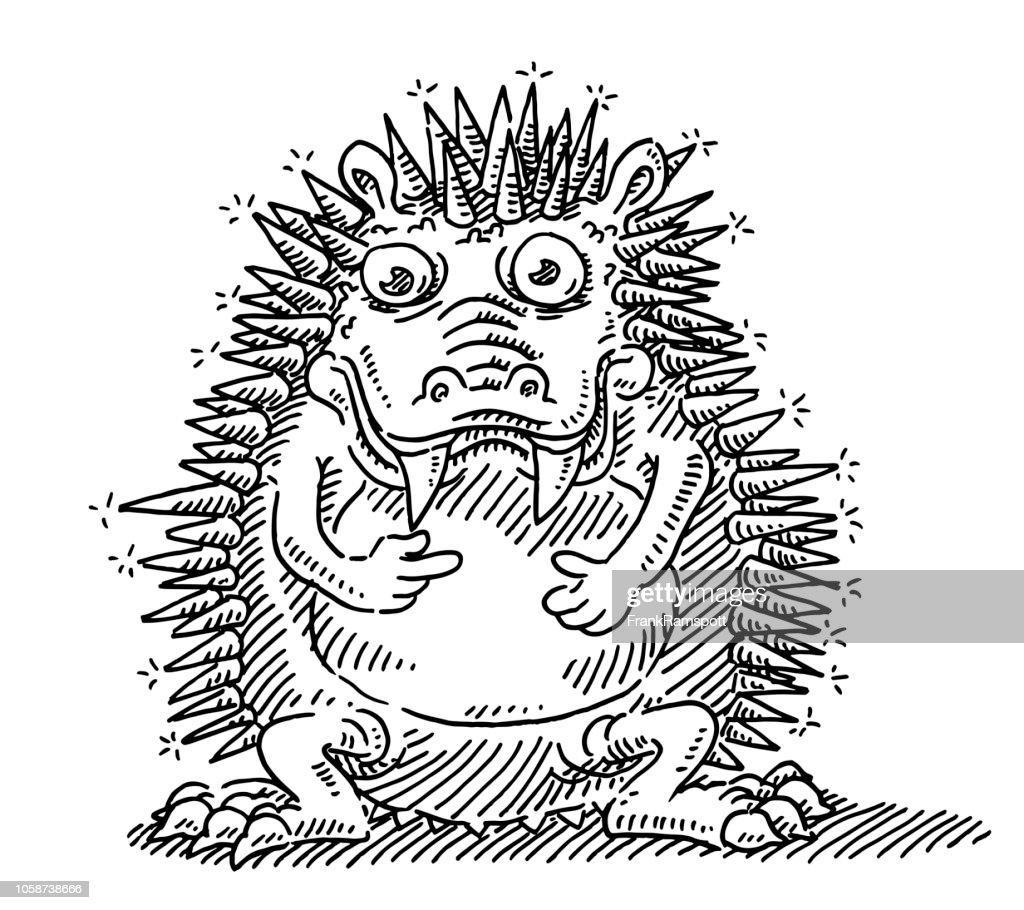 Lustige Monster stachelige Tier Zeichnung : Vektorgrafik