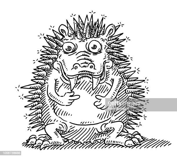 Lustige Monster stachelige Tier Zeichnung