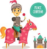 Funny Prince Charming knight on horse with flower and castle
