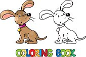 Funny puppy. Coloring book