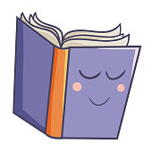 funny purple book with eyes closed