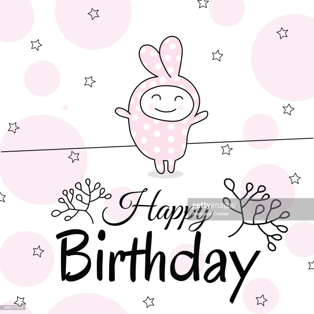 Funny Rabbit Suit For A Birthday Greeting Card Design Cute Vector