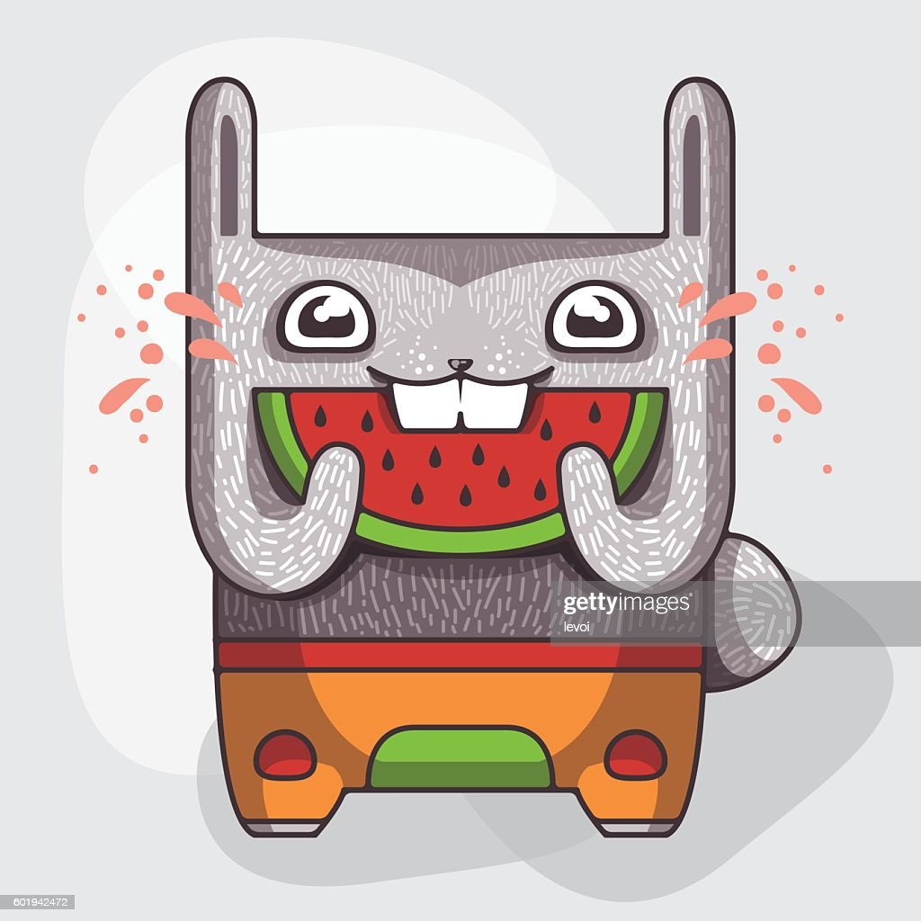Funny rabbit with a slice of watermelon