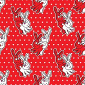 Funny rabbits seamless pattern