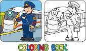 Funny railroader. Coloring book