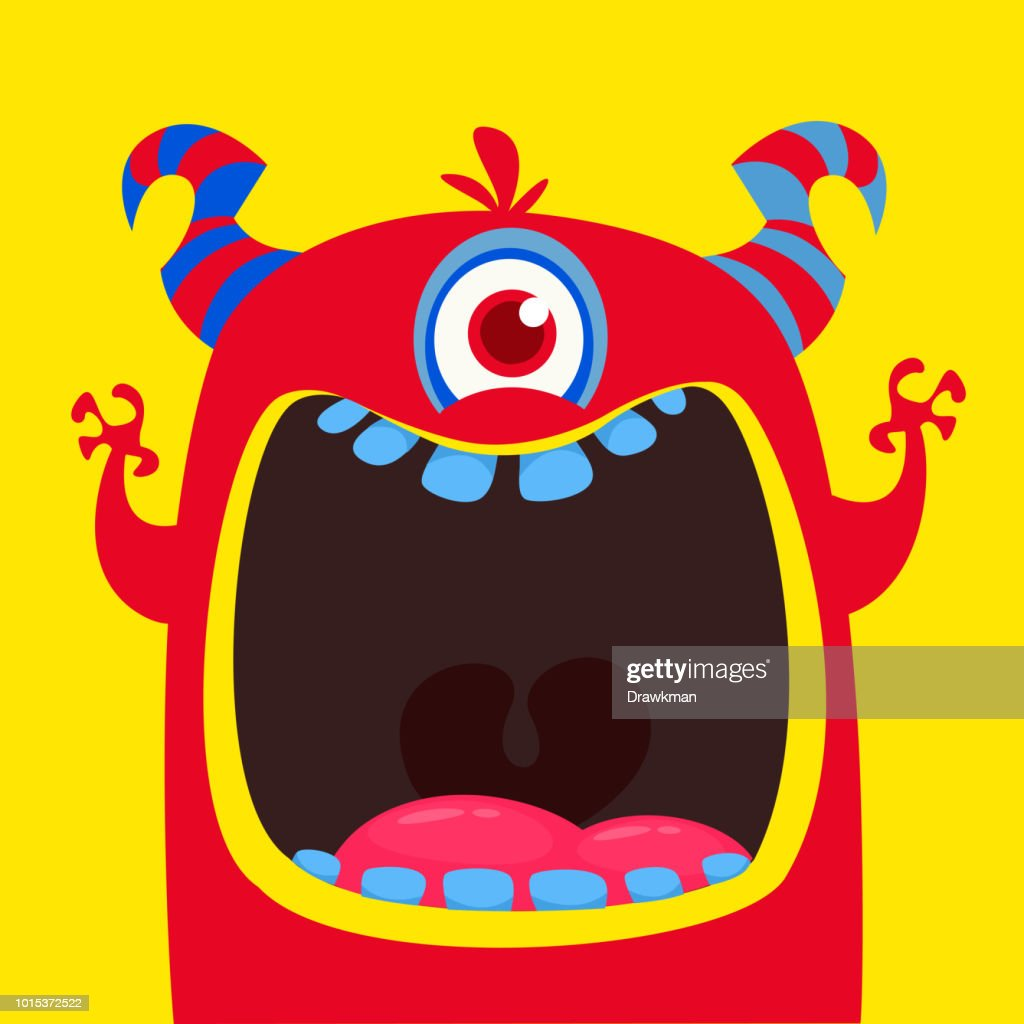 Funny red one eyed horned cartoon monster.