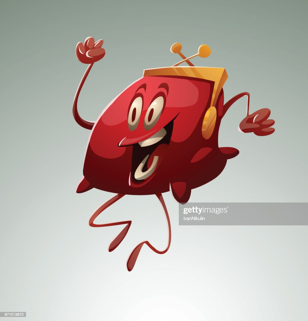 Funny red purse happily jumping