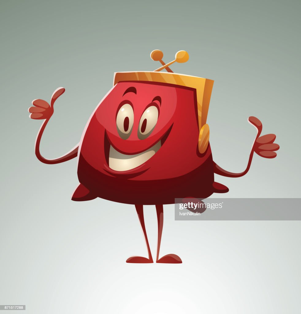 Funny red purse showing thumbs up