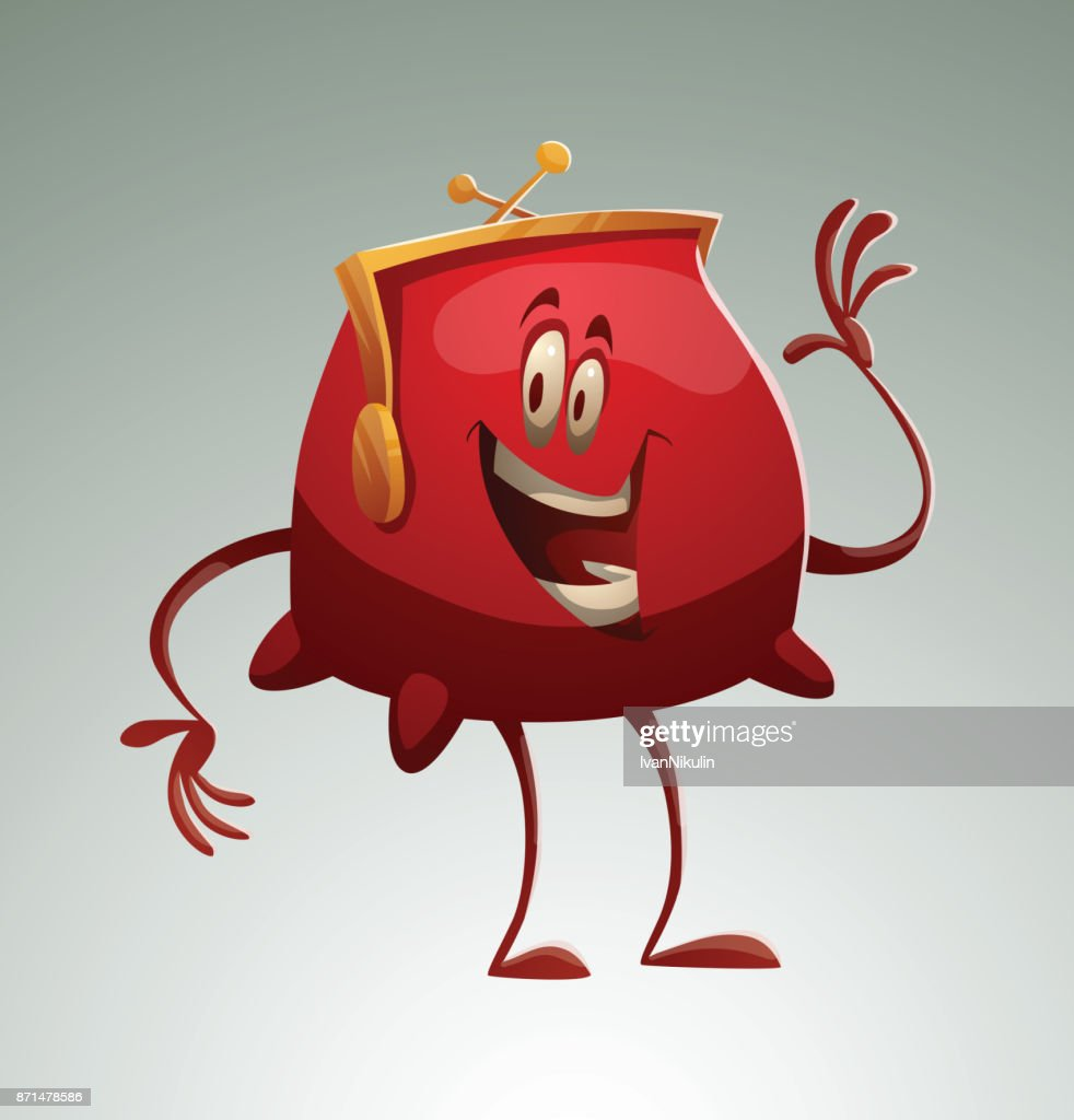 Funny red purse waving his hand