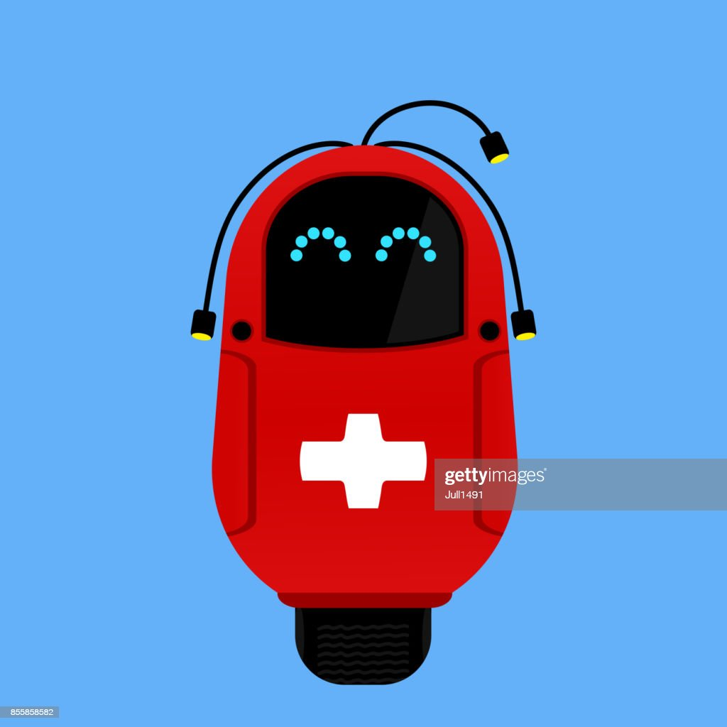 Funny red robot doctor. The technology of the future. Robotic ambulance