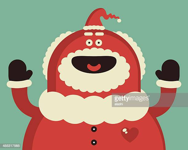 funny red santa claus smiling - obesity icon stock illustrations