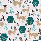 Funny reindeer seamless pattern vector illustration with childish drawing cute character ready for fashion textile print.