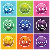 Funny round fluffy characters set