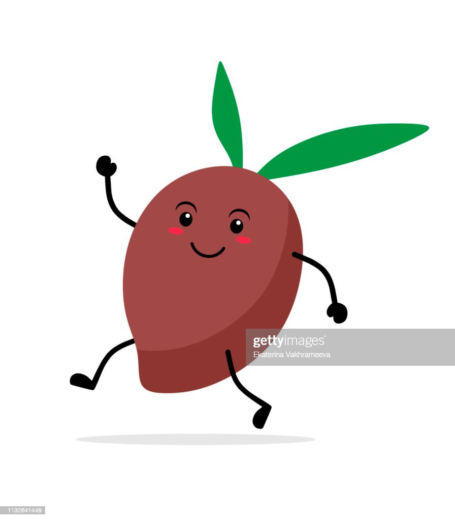 Funny running kawai olive with leaves. Vector illustration on white background.