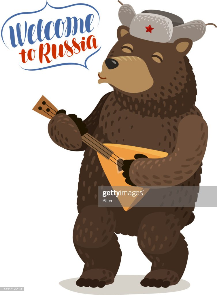 Funny Russian bear in cap with earflaps plays balalaika. Welcome to Russia, lettering vector illustration