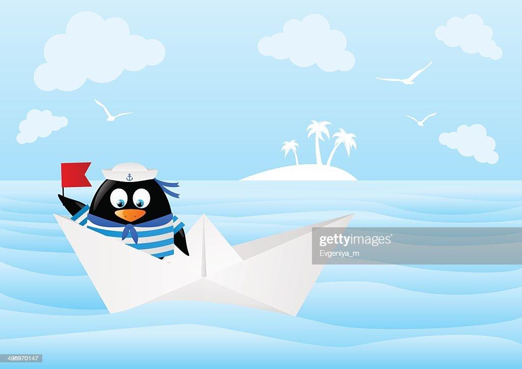 Funny sailor penguin