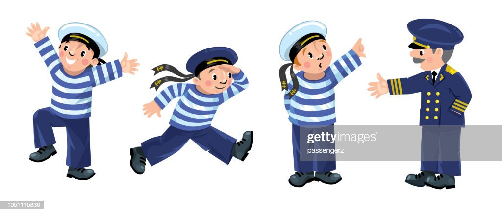 Funny sailors and captain set