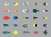 Funny Saltwater Fish Icons Cartoon Vector Illustration