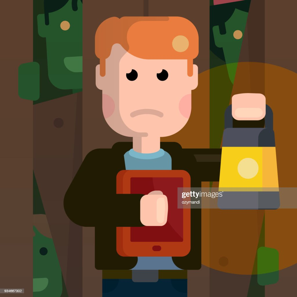 Funny scared man hide from zombies. Flat illustration of zombie apocalypse. Zombieland at the night.