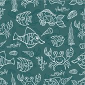 Funny Sea Life and Fish.Outline Doodle seamless pattern