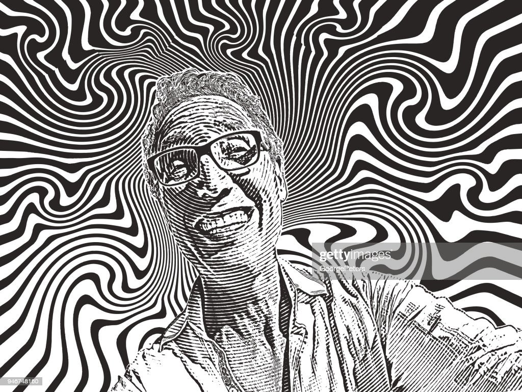Funny selfie of happy man and psychedelic background : stock illustration