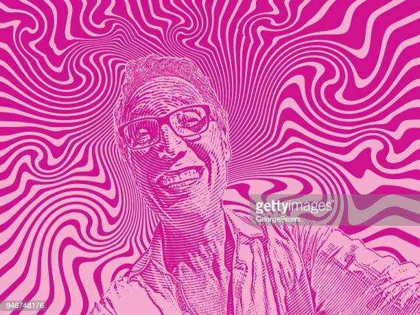 Funny selfie of happy man and psychedelic background