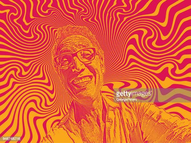 ilustrações, clipart, desenhos animados e ícones de engraçado selfie de homem feliz e fundo psicodélico - intoxicação por cannabis