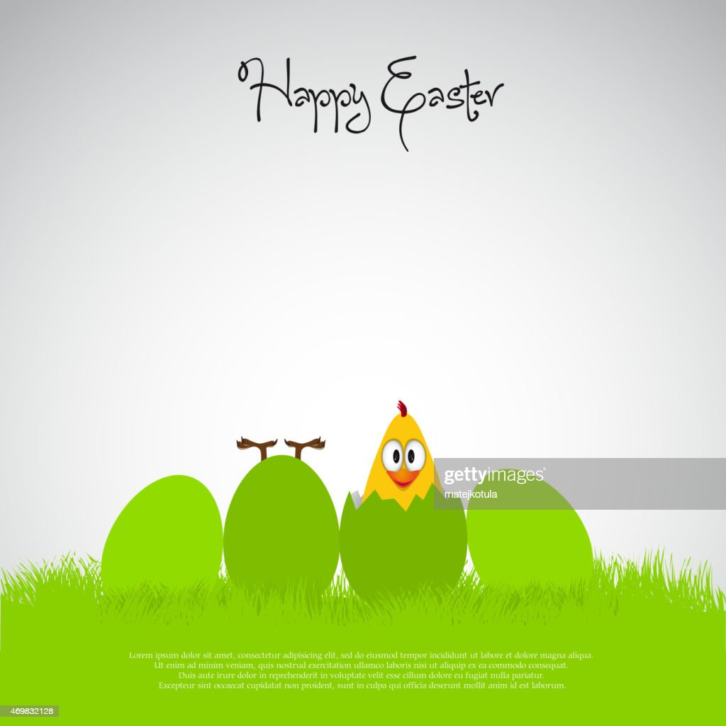 Funny Simple Easter eggs chicks - background illustration