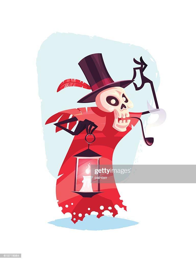 Funny skeleton character Cartoon halloween vector illustration