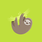 Funny sloth character smiling and hanging on a tree branch