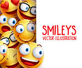 Funny smiley face vector characters happy smiling in the background