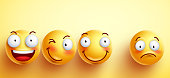 Funny smileys vector faces with happy smile with separated one