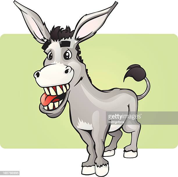 ilustraciones, imágenes clip art, dibujos animados e iconos de stock de sonriendo divertido burro - mula