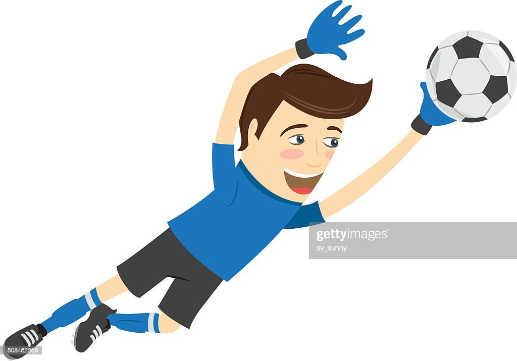 Funny soccer football player goalkeeper wearing blue t-shirt