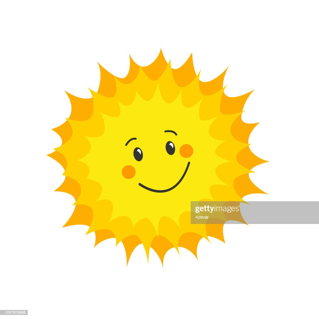 Funny sun icon. Flat vector
