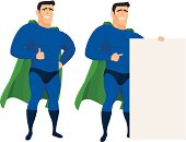 Funny superhero mascot in different poses