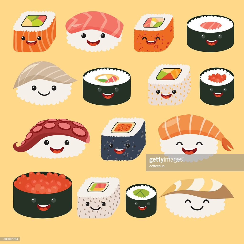 Funny sushi characters. Funny sushi with cute faces