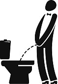 WC, funny symbol. Man or gentleman peeing in toilet. Vector illustration