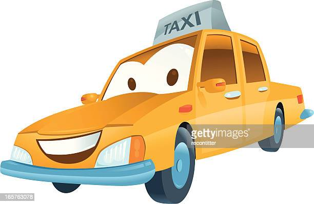 funny taxi car - yellow taxi stock illustrations, clip art, cartoons, & icons