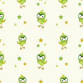Funny texture with comic green bird