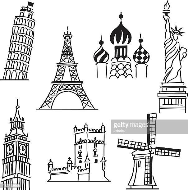 funny travel icons - leaning tower of pisa stock illustrations, clip art, cartoons, & icons