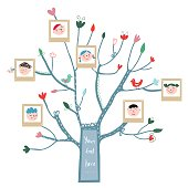 Funny tree card with family portraits and kids, cute design. Vector  illustration