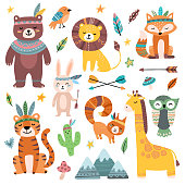 Funny tribal animals. Woodland baby animal, cute wild forest fox and jungle tribal zoo isolated cartoon vector character set